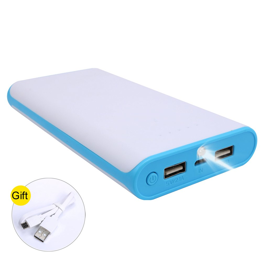 20000mAh Ultra High Capacity Power Bank with 2 USB Output, External Battery Pack for iPhone, iPad & Samsung Galaxy & More (BLUE)