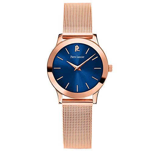 Women's Watch Pierre Lannier - 051H968 - WEEK-END LIGNE PURE - Rose-Gold and Blue- Milanese Band by Pierre Lannier