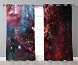 Thermal Insulated Blackout Grommet Window Curtains,Space Decorations,Space Nebula with Star Cluster in the Cosmos Universe Galaxy Solar Celestial Zone,Teal Red Pink,2 Panel Set Window Drapes,for Livin