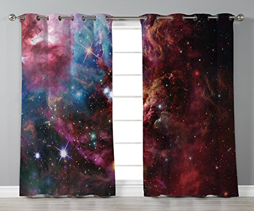 Thermal Insulated Blackout Grommet Window Curtains,Space Decorations,Space Nebula with Star Cluster in the Cosmos Universe Galaxy Solar Celestial Zone,Teal Red Pink,2 Panel Set Window Drapes,for Livin by iPrint