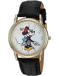Disney Womens Minnie Mouse Quartz Metal Casual Watch, Color:Black (Model: WDS000410)
