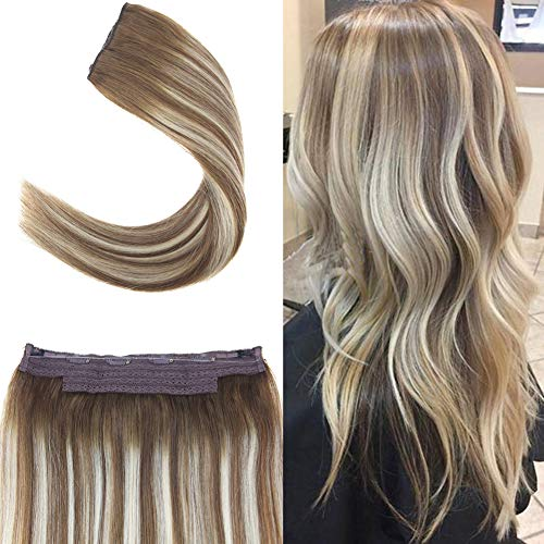 Youngsee 12inch Balayage Ombre Light Brown Mixed with Blonde Remy Halo Hair Extensions Fish Line Human Hair 80gram Medium Brown Fading to Bleach Blonde Remy Straight Halo Real Hair Extensions ()