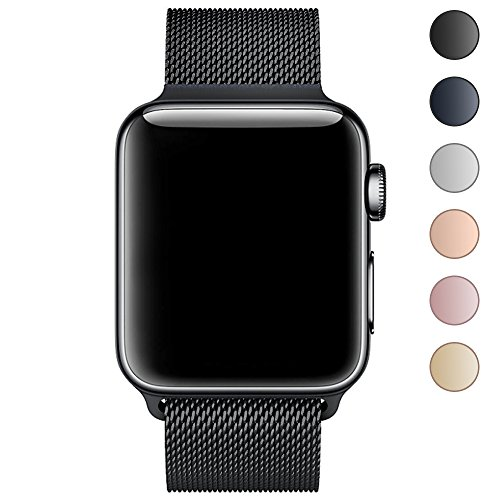 Walcase Apple Watch Band 42mm, Fully Magnetic Closure Clasp Mesh Loop Milanese Stainless Steel iWatch Band for Apple Watch Series 3 Series 2 Series 1 Sport and Edition - Black