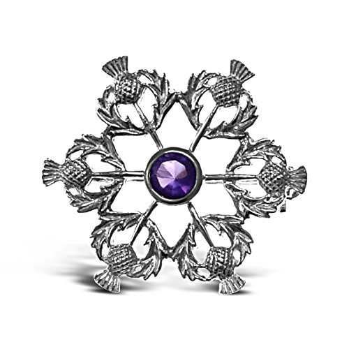 (Sterling Silver Thistle Brooch - Scottish Pin )