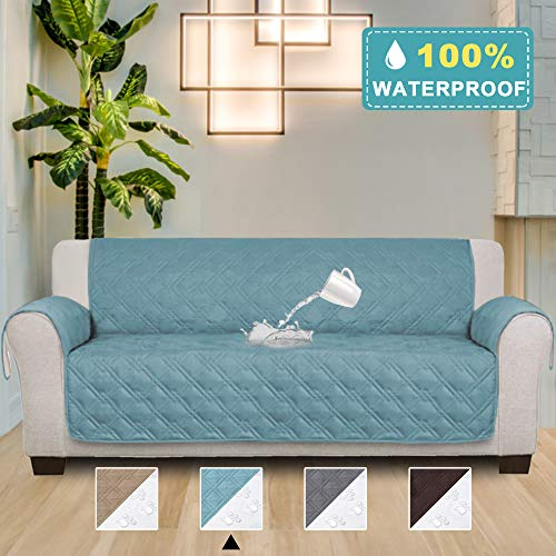 100% Waterproof Luxury Quilted Non Slip Sofa Protector Throw Furniture Protector Cover with Non-Skid Backing Machine Washable (Seat Width: 78