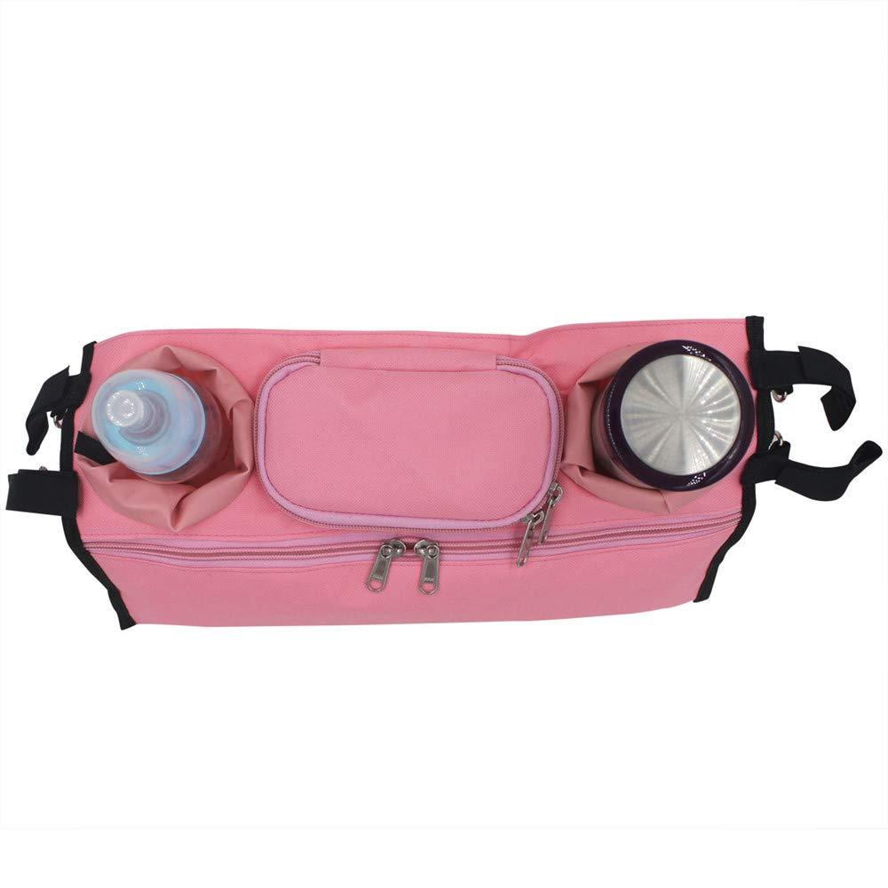 Aofocy Poussette Premium Organizer Hanging Bag Sac de rangement pour poussette rose