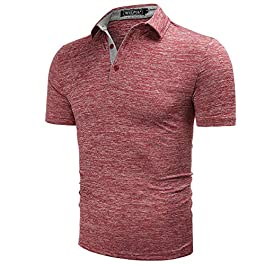 WULFUL Men's Polo Shirt Short Sleeve Quick Dry Golf Shirt Athletic T-Shirts