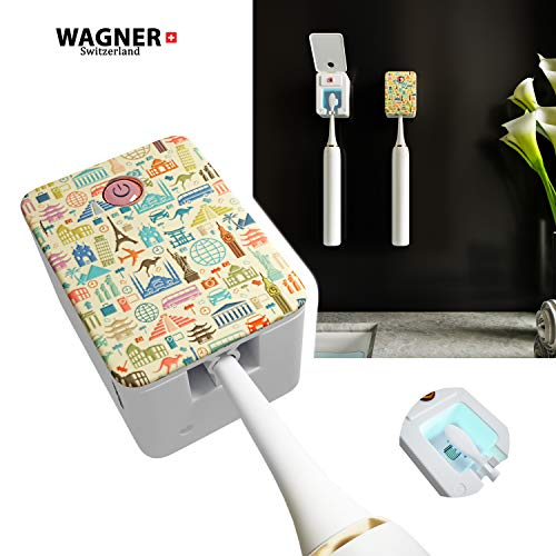 WAGNER Switzerland. Deep Toothbrush Sanitizer/UV-C Sterilizer. For Home and Travel, USB Li-Ion Rechargeable Battery. 3D Design. Compatible with all brush heads. Automatic.