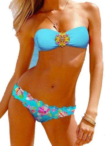 New Style Bikini Set/Jeweled Tube Top/Chic Flower Print Low Cut Bottom blue L