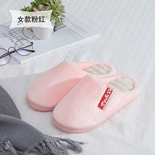 Habuji morbido cotone con suole di pantofole inverno femmina interno carino home caldo semi-pack con spessi ciabatte sandali inverno, 37-38, rosa