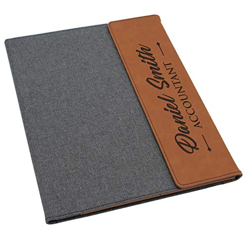 Custom Personalized Canvas Portfolio - Customized and Monogrammed Notepad, Padfolio, Business, Student, Teacher, Gift (Rust Flap)