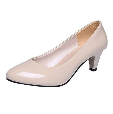 2923f31aa3c Amazon.com: Women Low Heeled Closed Toe Pump Kitten Heel Pumps Work ...
