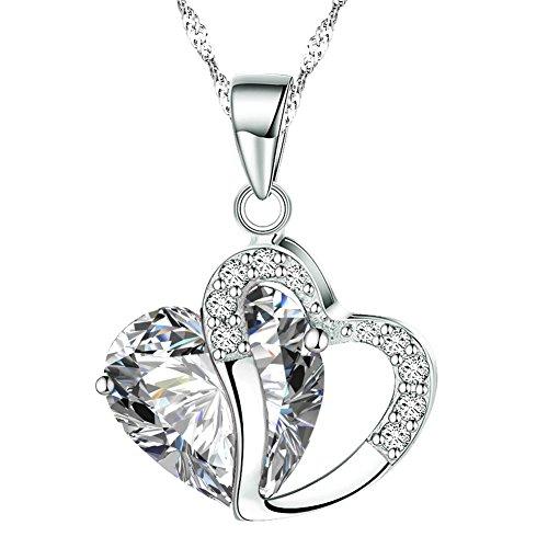 KATGI Fashion Austrian Crystals Heart Shape Pendant Necklace (White) (Necklace Austrian Pendant Crystal Heart)