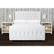 Jennifer Taylor Home, Upholstered Bed, Queen, Antique White, Linen Blend, Hand Tufted, Hand-Applied Nailheads