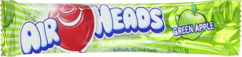 Airheads Candy, Green Apple, 0.55 oz Bar (Pack of 108)
