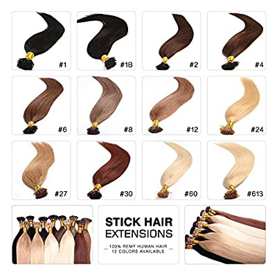 Fabwigs I Tip Stick Human Hair Extensions - 18 20 22 Inch 100 Strands 50g Set - Keratin Stick Fusion Remy Human Hair Extensions(12 Colors Available)