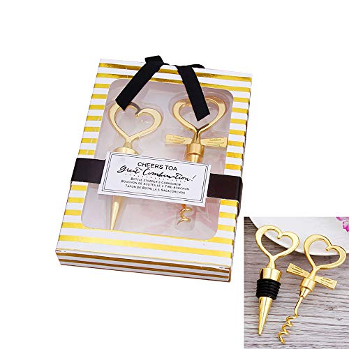 Wine Stopper and Opener Gift Set Special Wedding gift Love Heart Wedding Favor Gift (Gold)