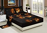 Bednlinens Luxury 4 Piece Sheet Set 3d Lion Pride Print Black (Queen Y15)