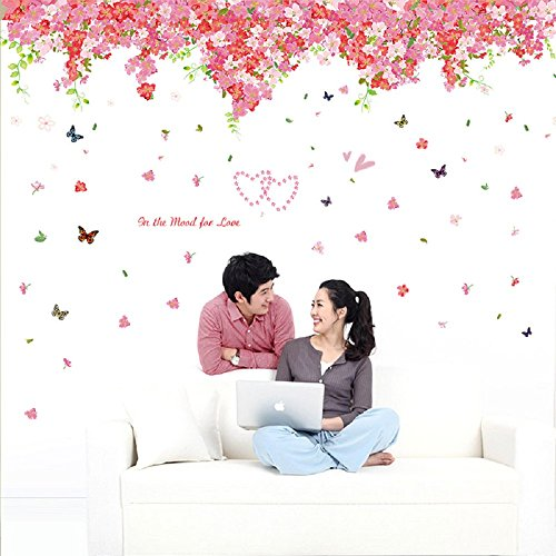 Amaonm Large Size Fashion Romantic Pink Red Cherry Blossoms Flowers Vines Wall Corner Decoration Art Decor Decal Butterfly Wall Stickers Murals Wallpaper for Nursery Room Bedroom Living Room