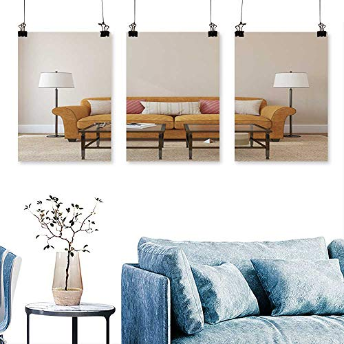 SCOCICI1588 Three Consecutive Painting Frameless liv Room Interior Orange Couch Near Empty Beige Won Book Cover Print On Canvas No Frame 30 INCH X 47 INCH X 3PCS