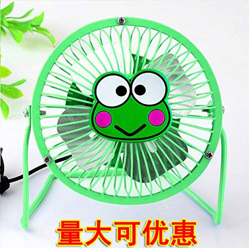 Ventvolo Computer Fan Inch Student Computer Fan USB Cartoon Metal Aluminum Leaf 4 Ultra-Quiet Two-Color Wrought Iron 4 Inch Green Frog ()