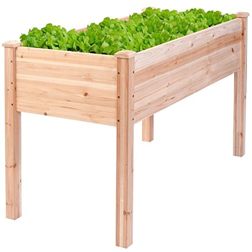 K&A Company Vegetable Raised Garden Bed Elevated Planter Wooden Flower Kit Box Plant Grow Gardening Outdoor Cedar Wood Patio by K&A Company