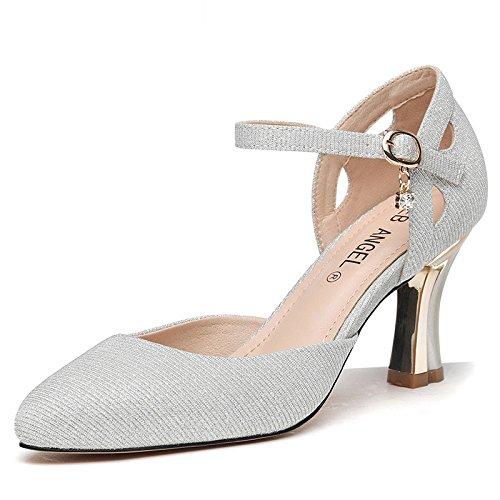 De Zapatos Cm Mujer 8 Zapatos De Primavera KPHY De Tacones Zapatos Cuero Y De Fino Zapatos Sandalias Verano silvery Alto Medias Tacon De Hebillas fqSAw