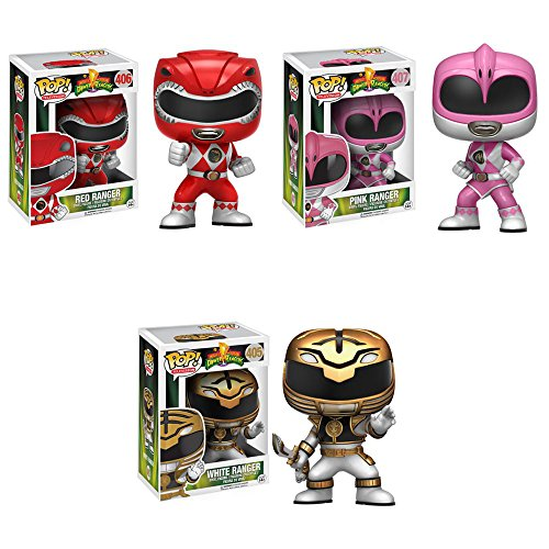 Pop! TV: Mighty Morphin' Power Rangers Red, Pink, White Figures Set of 3 (Pink Ranger Funko Pop compare prices)