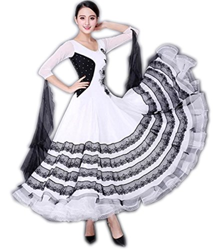割引購入 garuda garuda 社交ダンス ドレスダンス衣装 サイズL モダン競技服レース付ロングワンピース ホワイト サイズオーダー対応 B075B64NY9 ホワイト サイズL, ピーアイシーnetshop 2号店:904e3829 --- a0267596.xsph.ru