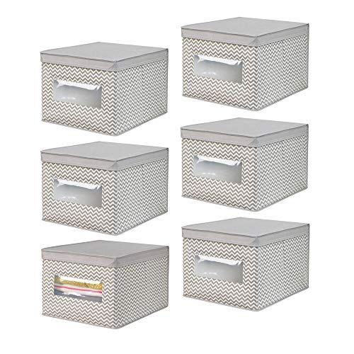 mDesign Soft Fabric Stackable Closet Storage Organizer Holder Box with Clear Window, Attached Hinged Lid - Bedroom, Hallway, Entryway, Closet, Bathroom - Chevron Print, Large, 6 Pack - Taupe/Natural