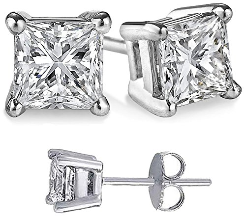 (Unisex 925 Sterling Silver Princess Cubic Zirconia Square White Cz Stud Earrings Solid Basket)