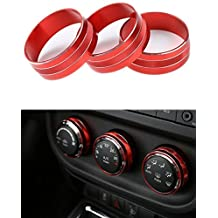 Danti 3pcs Audio Air Conditioning Button Cover Decoration Twist Switch Ring Trim for Jeep Wrangler JK JKU Compass Patriot 2011-2016 (Red)