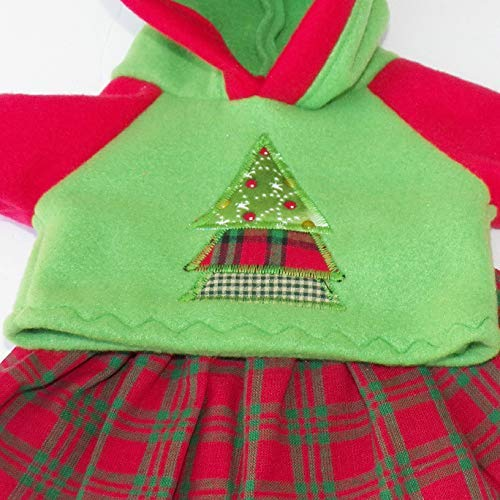 14 inch Girl or Preemie Size Green Red Hoodie Skirt Set Christmas Cabbage Patch Doll Clothes