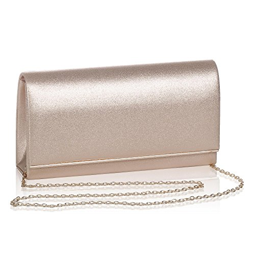 Womens Metallic Glitter Flap Clutch,WALLYN'S Evening Bag Handbag Solid Color Rosegold