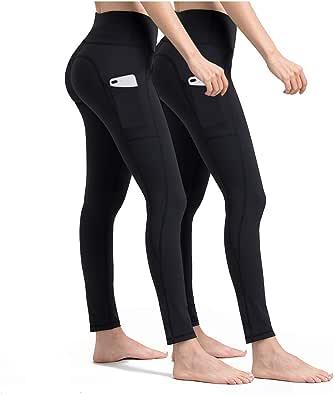 ALONG FIT Yoga Pants Women Cell Phone Pockets Side/Inner Compression Workout Leggings Tummy Control Yoga Leggings Capris
