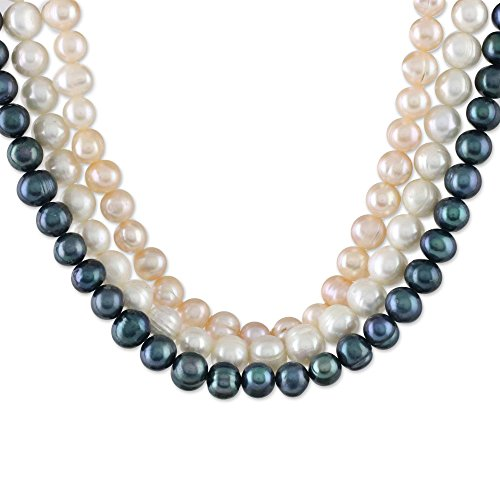NOVICA White Cultured Freshwater Pearl .925 Sterling Silver Beaded Necklace, 19