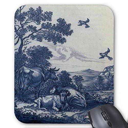 Price comparison product image Zazzle Antique Delft Blue Tile - Cattle and Birds Mouse Pad