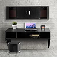 Giantex Wall Mounted Floating Desk Computer Table & Desk Hutch Set Study Living Room Furniture Black