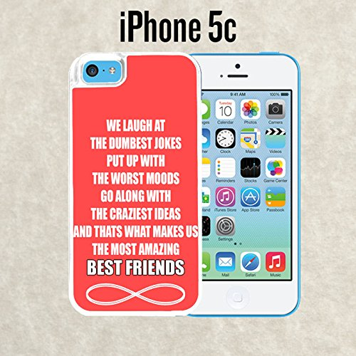 iPhone Case Amazing Best Friends Quote for iPhone 5c White 2 in 1 Heavy Duty (Ships from CA) With Free .33 mm Premium Tempered Glass Screen Protector