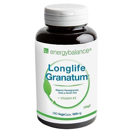 Vitamina K2 MK7 569mg | Longlife Granatum No. 1 | con té verde | Antioxidante