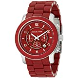 Michael Kors MK8105 Unisex Chronograph Red Dial and Rubber Strap Watch