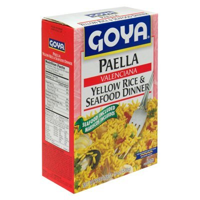 Goya Paella Valenciana Yellow Rice & Seafood Dinner 19 Oz (Pack of 4)