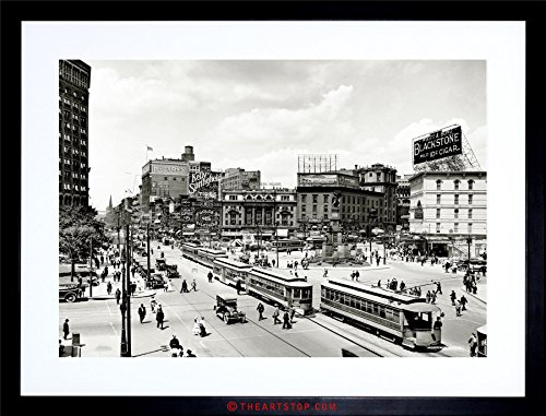 Vintage Framed Picture (The Art Stop Vintage Photo Cityscape Woodward Avenue 1917 Detroit Framed Print F12X5388)