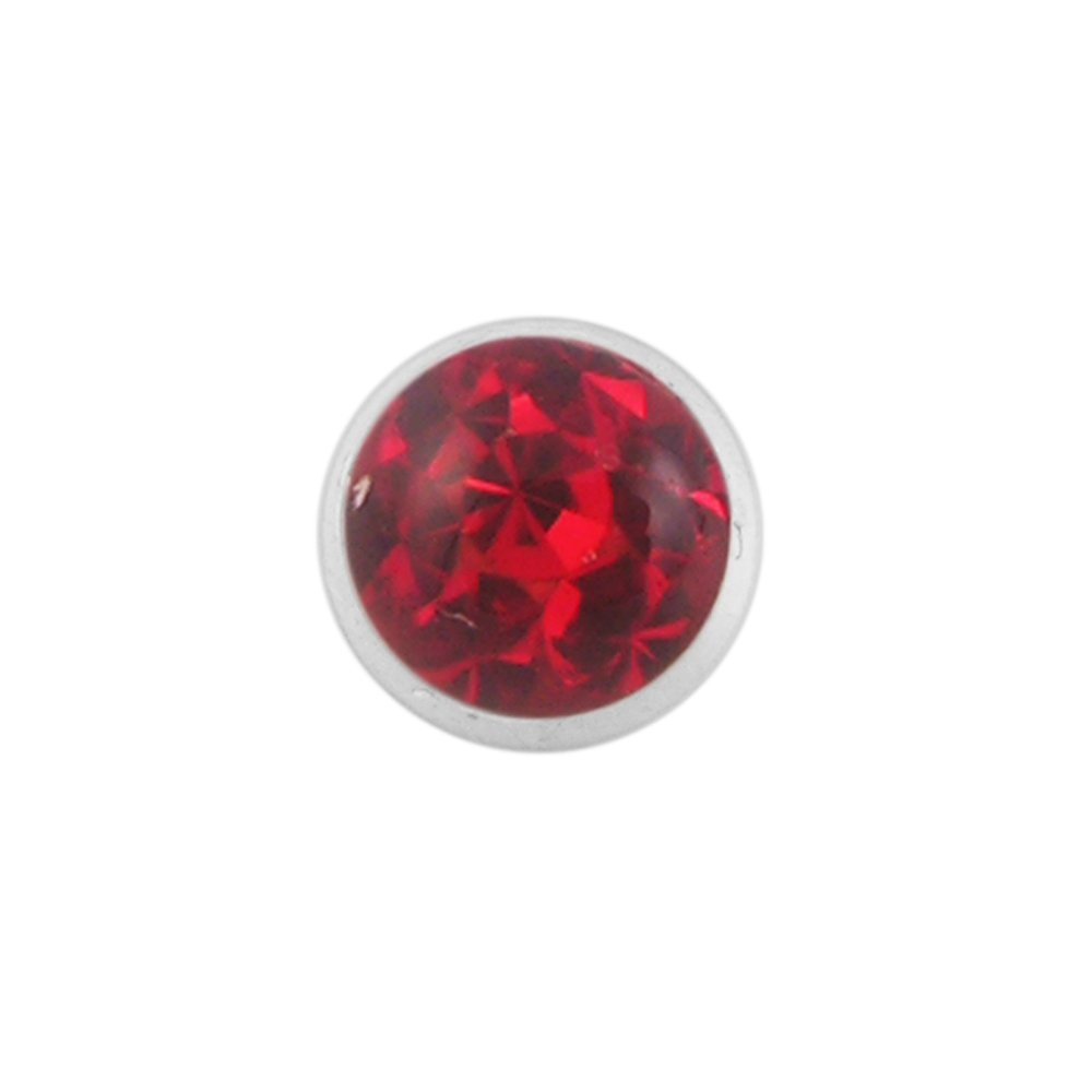 Epoxy Clover Red Multi Crystal Stone Internally Threaded Surgical Steel Flesh Tunnels