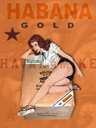 HABANA GOLD Cuban Cigar PINUP GIRL Poster Art Print - measures 24