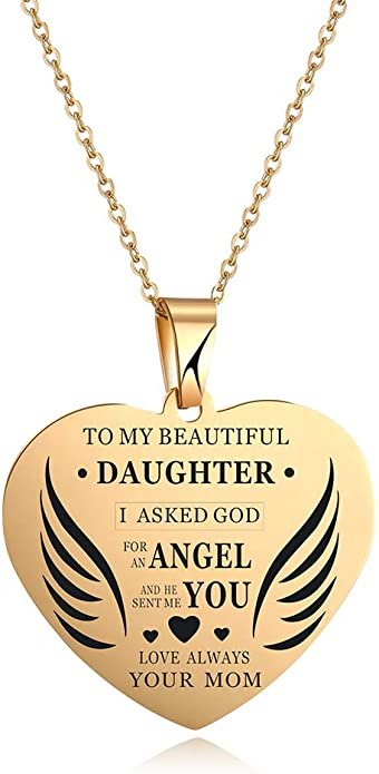 Daddy/'s Little Girl Heart with Butterfly Charm and Your Choice of Pearl Color Stainless Steel Pendant Laser Engraved Pendant