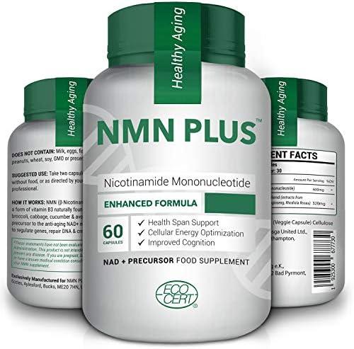 Hanf NMN Kapseln, 300 mg pro Portion, erhöhen natürlich die NAD + Niveaus für Anti Aging, 60 Kapseln Nicotinamid Mononukleotid