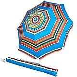 AmazonBasics Beach Umbrella - Blue/Red Striped