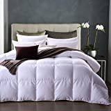 Premium Down Classic Baffle Box Design 600 Fill Power White Down Comforter, 300 TC 100% Cotton, Level 3 Extra Weight (King)