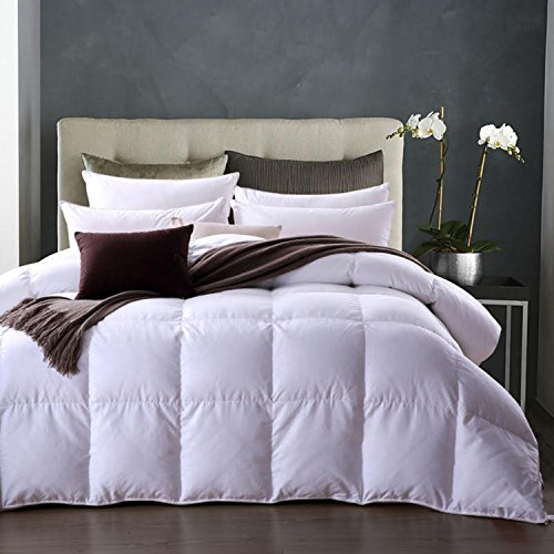 Elliz Deluxe Box Stitched 600 Fill Power White Down Comforter, 300 TC 100% Cotton, Level 2 Medium Weight (King)